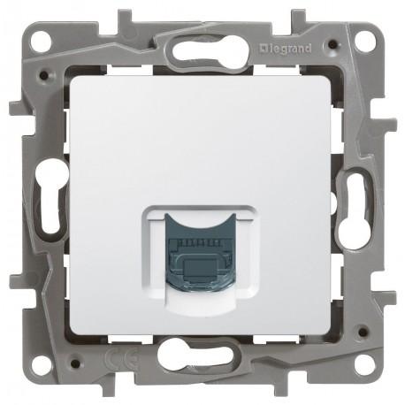 Розетка компьютерная RJ45, кат.5 UTP, 1-ная, цвет белый, Legrand Etika 672241