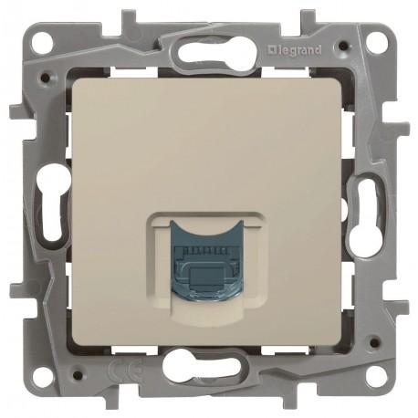 Розетка компьютерная RJ45, кат.5 UTP, 1-ная, цвет слоновая кость, Legrand Etika 672341
