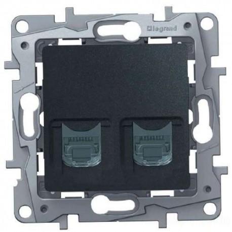 Розетка телефон-компьютер, RJ11+RJ45, цвет антрацит, Legrand Etika 672652