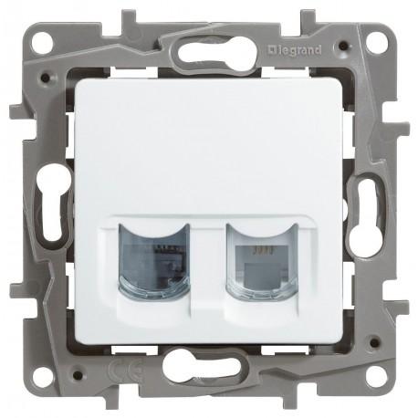 Розетка телефон-компьютер, RJ11+RJ45, цвет белый, Legrand Etika 672252