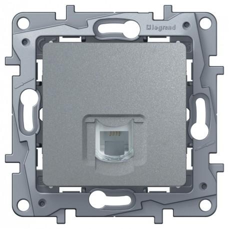 Розетка телефонна RJ11, 1-на, 4 контакти, колір алюміній