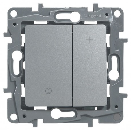 Светорегулятор, 400 Вт, нажимной, цвет алюминий, Legrand Etika 672418