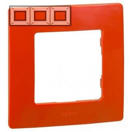 Рамка 3-я, цвет красный, Legrand Etika 672533