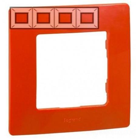 Рамка 4-я, цвет красный, Legrand Etika 672534