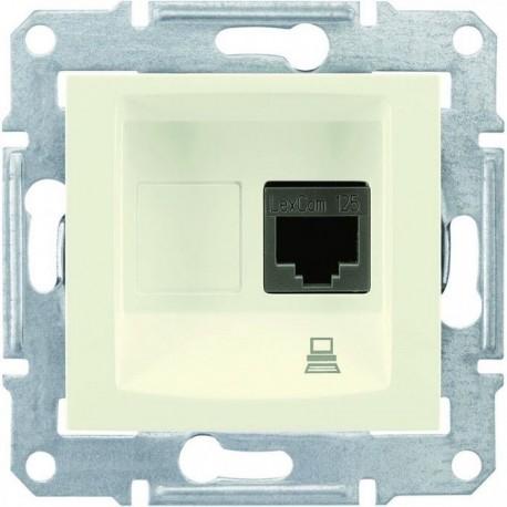 Розетка комп'ютерна RJ45 кат. 5 UTP, 1-на, колір слонова кістка, Sedna