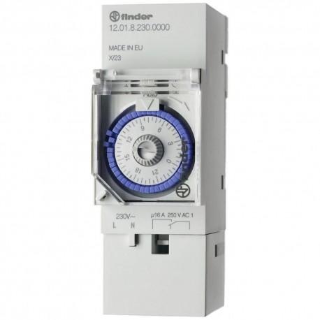 Реле времени суточное, 1CO, 16A, 230В AC, электромеханическое, с резервным ист.питания, модульное, 120182300000 Finder