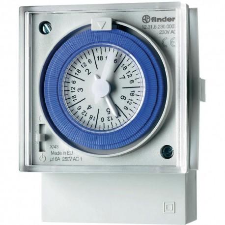 Реле времени суточное, 1CO, 16A, 230В AC, электромеханическое, с резервным ист.питания, 123182300000 Finder