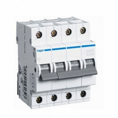 Автоматичний вимикач 13 А, 4 полюса, тип C, 6 kA, MC413A Hager