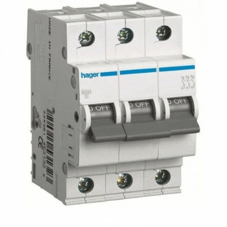 Автоматичний вимикач 2 А, 3 полюси, тип C, 6 kA, MC302A Hager