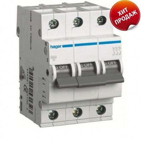 Автоматичний вимикач 25 А, 3 полюси, тип C, 6 kA, MC325A Hager