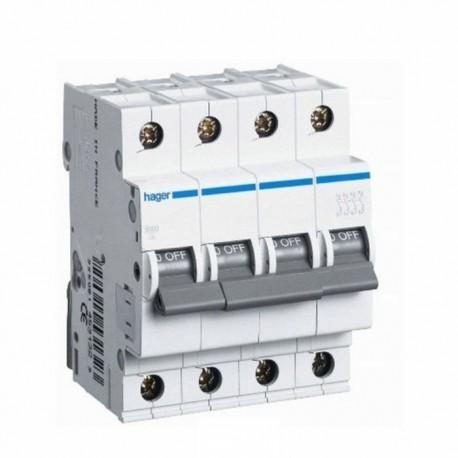Автоматичний вимикач 4 А, 4 полюса, тип C, 6kA, MC404A Hager