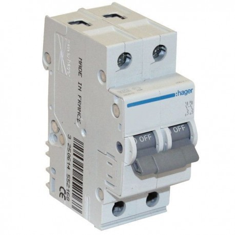 Автоматичний вимикач 1 А, 2 полюси, тип C, 6 kA, MC201A Hager