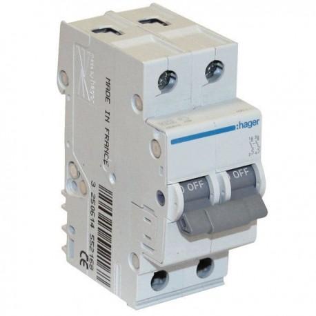 Автоматичний вимикач 2 А, 2 полюси, тип C, 6 kA, MC202A Hager