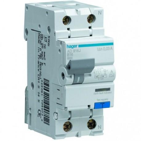 Дифференциальный автомат 16А, 1+N, 6kA, B, 10mA, AC966J Hager