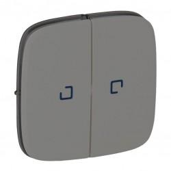 Лицевая панель выключателя 2-клавишного с подсветкой, цвет алюминий, Valena Allure, Legrand 755227