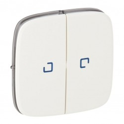 Лицевая панель выключателя 2-клавишного с подсветкой, цвет белый, Valena Allure, Legrand