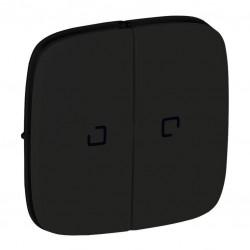 Лицевая панель выключателя 2-клавишного с подсветкой, цвет черный, Valena Allure, Legrand