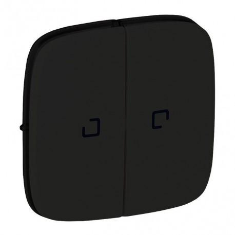 Лицевая панель выключателя 2-клавишного с подсветкой, цвет черный, Valena Allure, Legrand 755228