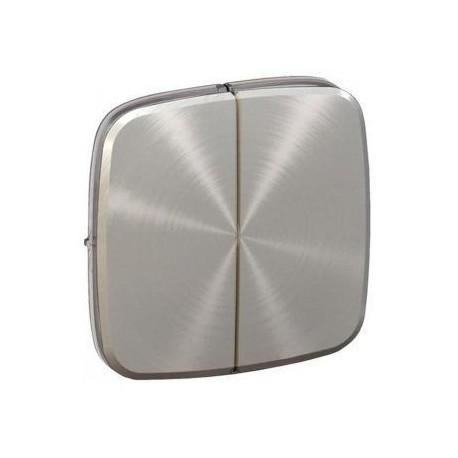 Лицевая панель выключателя 2-клавишного, цвет светлая нержавеющая сталь, Valena Allure, Legrand 755023