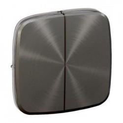 Лицевая панель выключателя 2-клавишного, цвет темная нержавеющая сталь, Valena Allure, Legrand