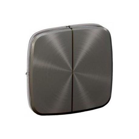 Лицьова панель вимикача 2-клавішного, колір темна нержавіюча