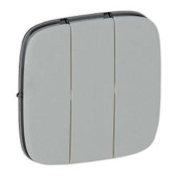 Лицевая панель выключателя 3-клавишного, цвет алюминий, Valena Allure, Legrand 755037