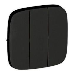Лицьова панель вимикача 3-клавішного, колір чорний, Valena