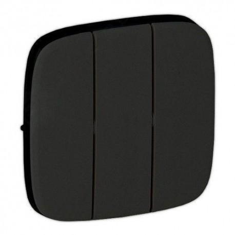 Лицевая панель выключателя 3-клавишного, цвет черный, Valena Allure, Legrand 755038