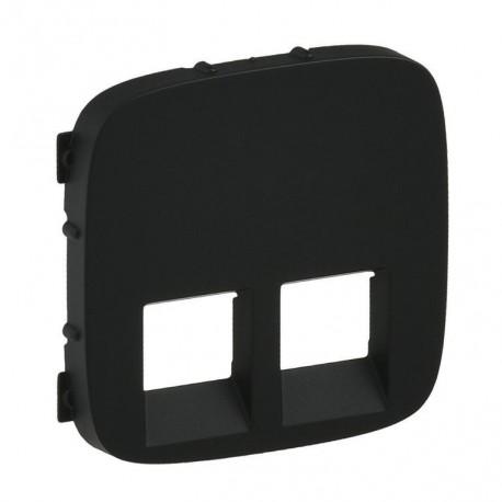 Лицевая панель двойной розетки RJ11, RJ45, цвет черный, Valena Allure, Legrand 755428