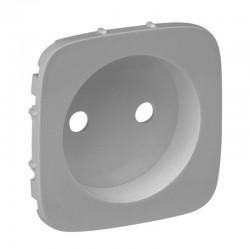 Лицьова панель розетки без заземлення, колір алюміній, Valena