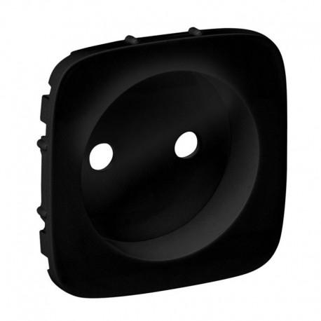 Лицьова панель розетки без заземлення, колір чорний, Valena