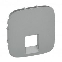 Лицевая панель розетки компьютерной RJ11, RJ45, одинарной, цвет алюминий, Valena Allure 755417