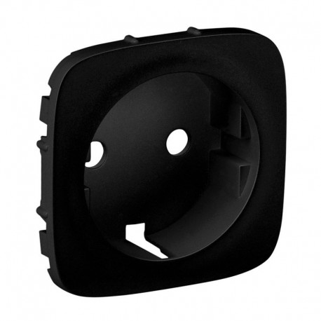 Лицьова панель розетки із заземленням, колір чорний, Valena