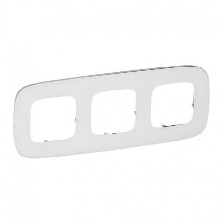 Рамка 3-я цвет белое стекло, Valena Allure 755543