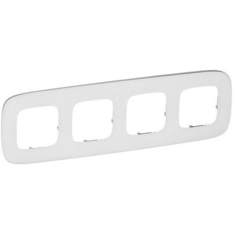 Рамка 4-я цвет белое стекло, Valena Allure 755544