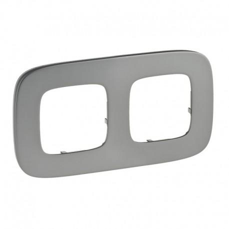 Рамка 2-я цвет полированная сталь, Valena Allure 755502