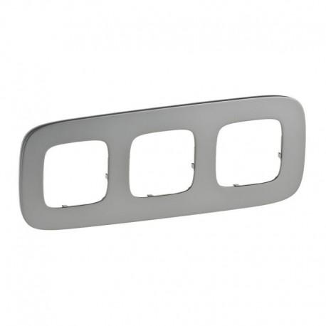 Рамка 3-я цвет полированная сталь, Valena Allure 755503