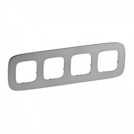 Рамка 4-я цвет полированная сталь, Valena Allure 755504