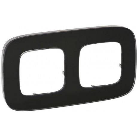 Рамка 2-я цвет черное стекло, Valena Allure 755532