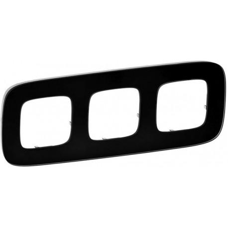 Рамка 3-я цвет черное стекло, Valena Allure 755533