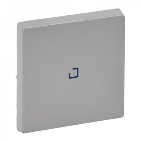 Лицевая панель выключателя 1-клавишного с подсветкой, цвет алюминий, Valena Life