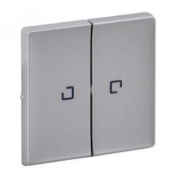 Лицевая панель выключателя 2-клавишного с подсветкой, цвет алюминий, Valena Life 755222