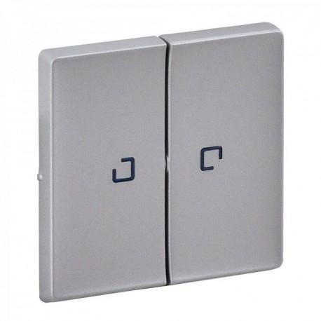 Лицевая панель выключателя 2-клавишного с подсветкой, цвет алюминий, Valena Life