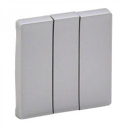 Лицевая панель выключателя 3-клавишного, цвет алюминий, Valena Life 755032
