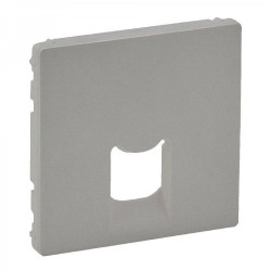 Лицевая панель розетки копьютерной RJ11, RJ45, одинарной, цвет алюминий, Valena Life 755412