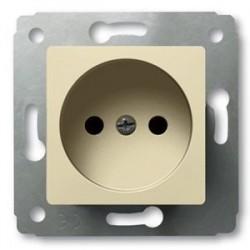 Механизм розетки 2 контакта, с заземлением, со шторками, цвет слоновая кость, Legrand Cariva