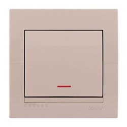 Выключатель 1-клавишный с подсветкой цвет кремовый, Lezard Deriy 702-0303-111