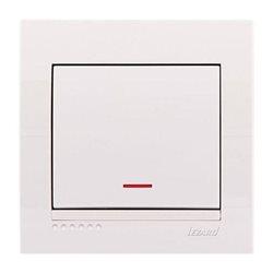 Выключатель 1-клавишный с подсветкой цвет белый, Lezard Deriy 702-0202-111