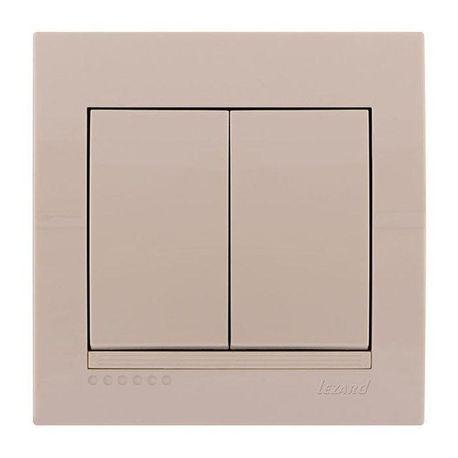 Выключатель 2-клавишный цвет кремовый, Lezard Deriy 702-0303-101