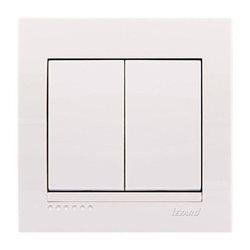 Выключатель 2-клавишный цвет белый, Lezard Deriy 702-0202-101
